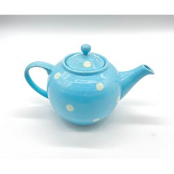 Sky blue teapot with white...